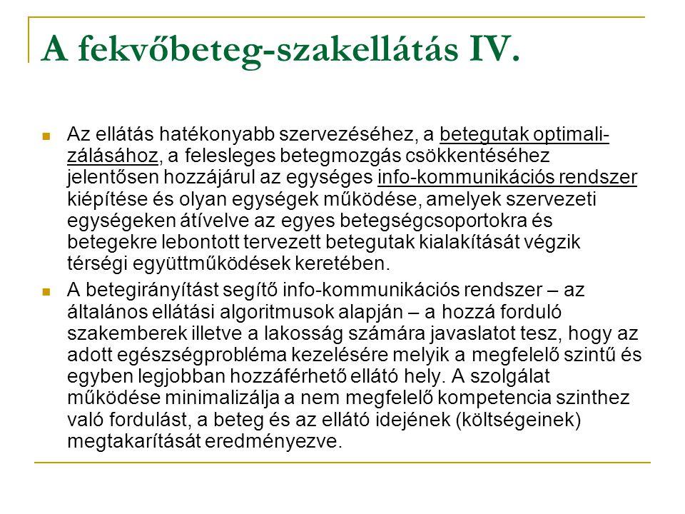 A fekvőbeteg-szakellátás IV.