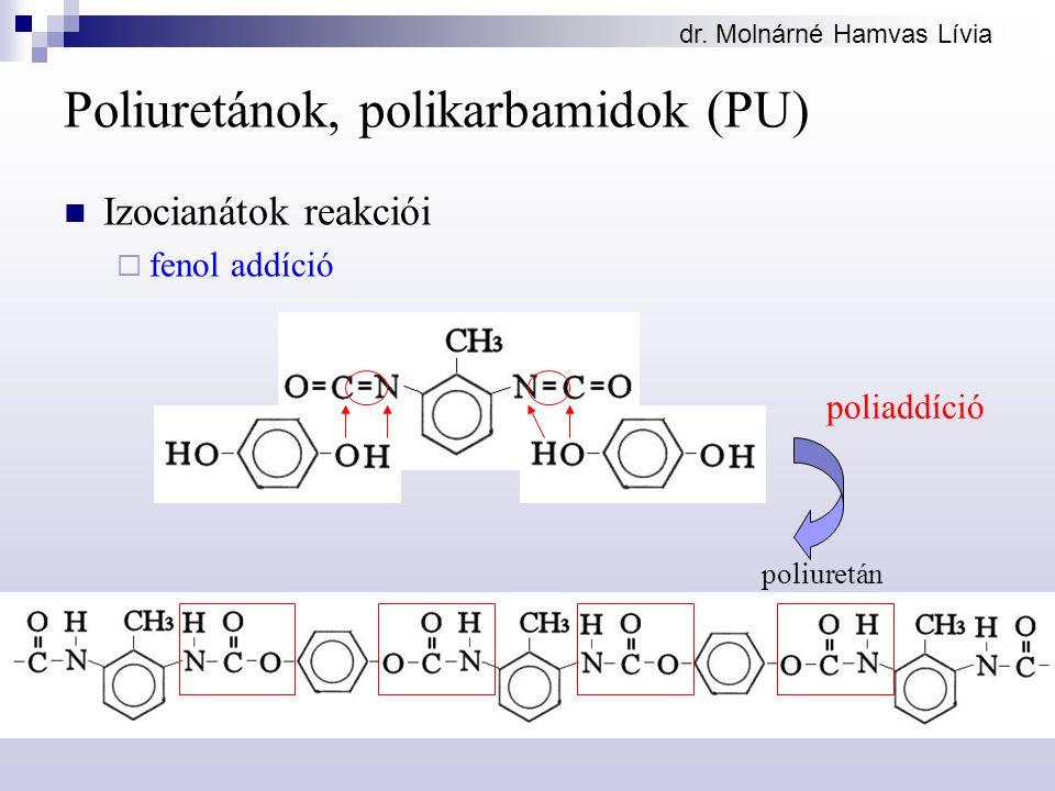 dr. Molnárné Hamvas Lívia Poliuretánok, polikarbamidok (PU) Izocianátok reakciói  fenol addíció poliaddíció poliuretán
