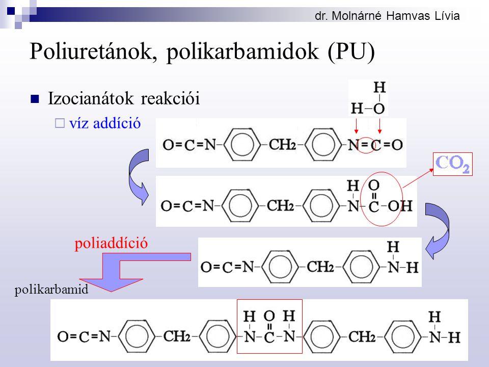 dr. Molnárné Hamvas Lívia Poliuretánok, polikarbamidok (PU) Izocianátok reakciói  víz addíció poliaddíció polikarbamid