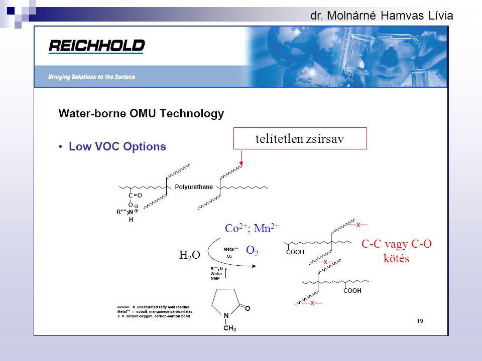 dr. Molnárné Hamvas Lívia telítetlen zsírsav Co 2+ ; Mn 2+ O 2 C-C vagy C-O kötés H2OH2O