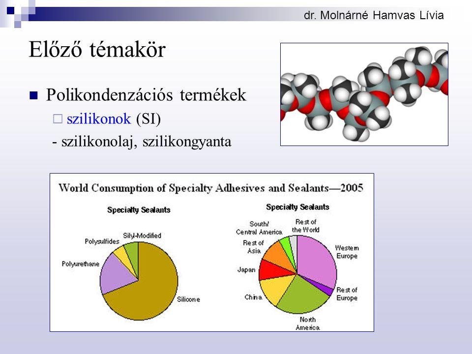 dr. Molnárné Hamvas Lívia Előző témakör Polikondenzációs termékek  szilikonok (SI) - szilikonolaj, szilikongyanta