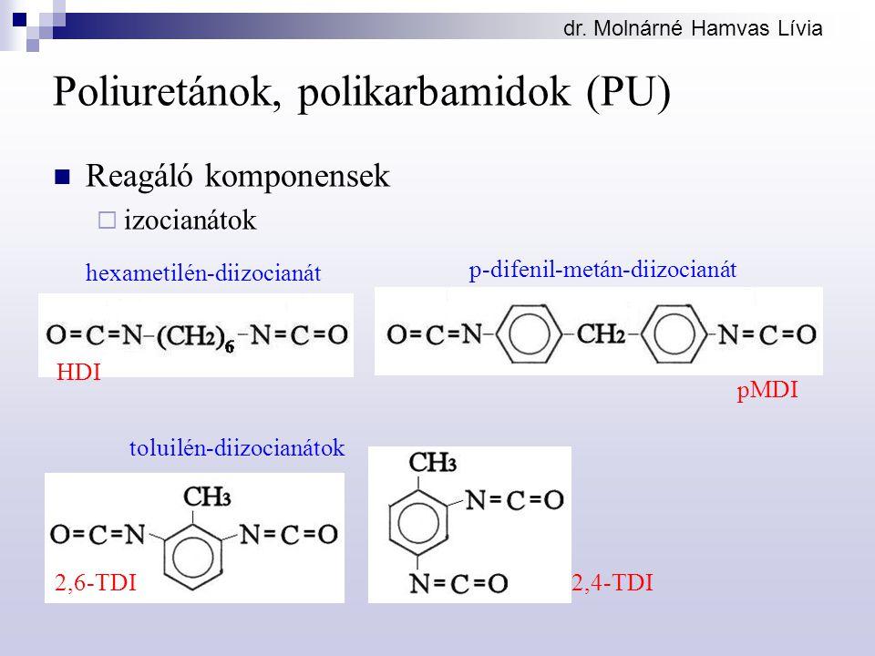 Poliuretánok, polikarbamidok (PU) Reagáló komponensek  izocianátok hexametilén-diizocianát p-difenil-metán-diizocianát 2,6-TDI2,4-TDI toluilén-diizocianátok HDI pMDI