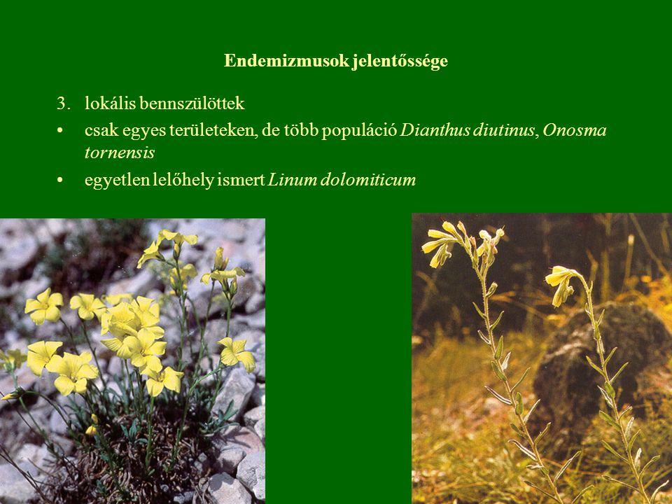 Endemizmusok jelentőssége 3.lokális bennszülöttek csak egyes területeken, de több populáció Dianthus diutinus, Onosma tornensis egyetlen lelőhely isme