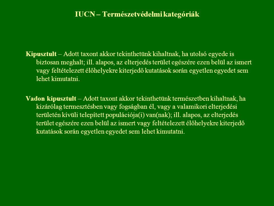 IUCN – Természetvédelmi kategóriák Kipusztult – Adott taxont akkor tekinthetünk kihaltnak, ha utolsó egyede is biztosan meghalt; ill. alapos, az elter