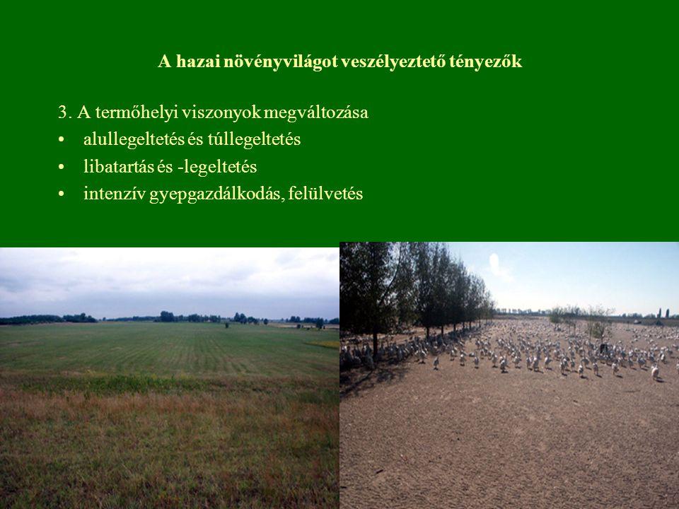 A hazai növényvilágot veszélyeztető tényezők 3. A termőhelyi viszonyok megváltozása alullegeltetés és túllegeltetés libatartás és -legeltetés intenzív