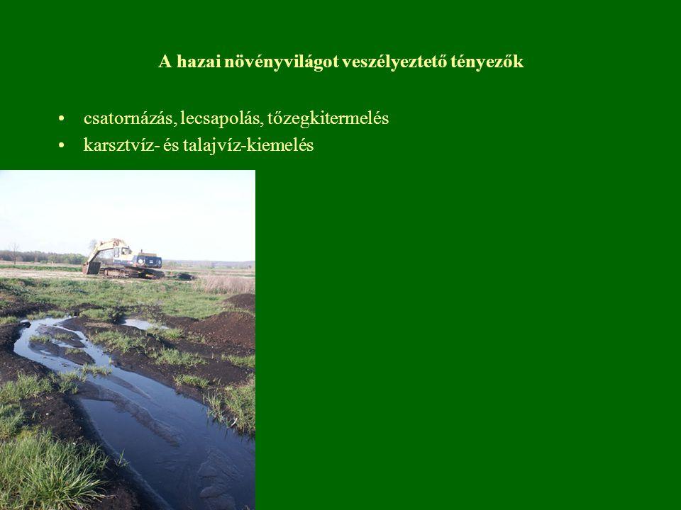 A hazai növényvilágot veszélyeztető tényezők csatornázás, lecsapolás, tőzegkitermelés karsztvíz- és talajvíz-kiemelés