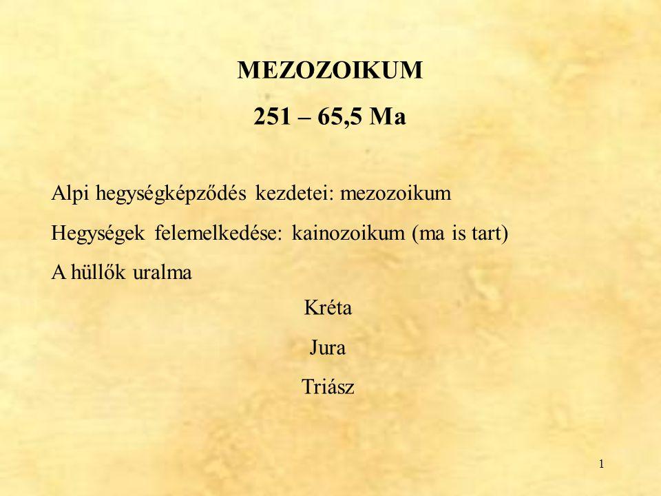 1 MEZOZOIKUM 251 – 65,5 Ma Alpi hegységképződés kezdetei: mezozoikum Hegységek felemelkedése: kainozoikum (ma is tart) A hüllők uralma Kréta Jura Triá