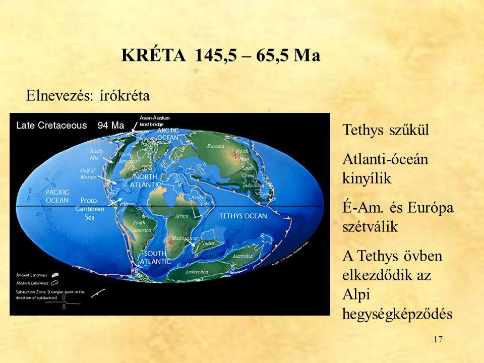 17 KRÉTA 145,5 – 65,5 Ma Elnevezés: írókréta Tethys szűkül Atlanti-óceán kinyílik É-Am. és Európa szétválik A Tethys övben elkezdődik az Alpi hegységk