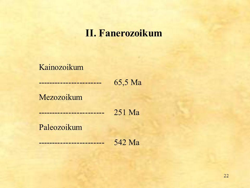 22 II. Fanerozoikum Kainozoikum -----------------------65,5 Ma Mezozoikum ------------------------251 Ma Paleozoikum ------------------------542 Ma