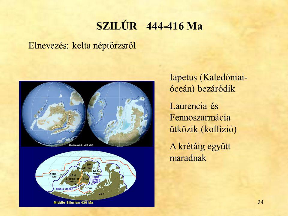 34 SZILÚR 444-416 Ma Iapetus (Kaledóniai- óceán) bezáródik Laurencia és Fennoszarmácia ütközik (kollízió) A krétáig együtt maradnak Elnevezés: kelta n