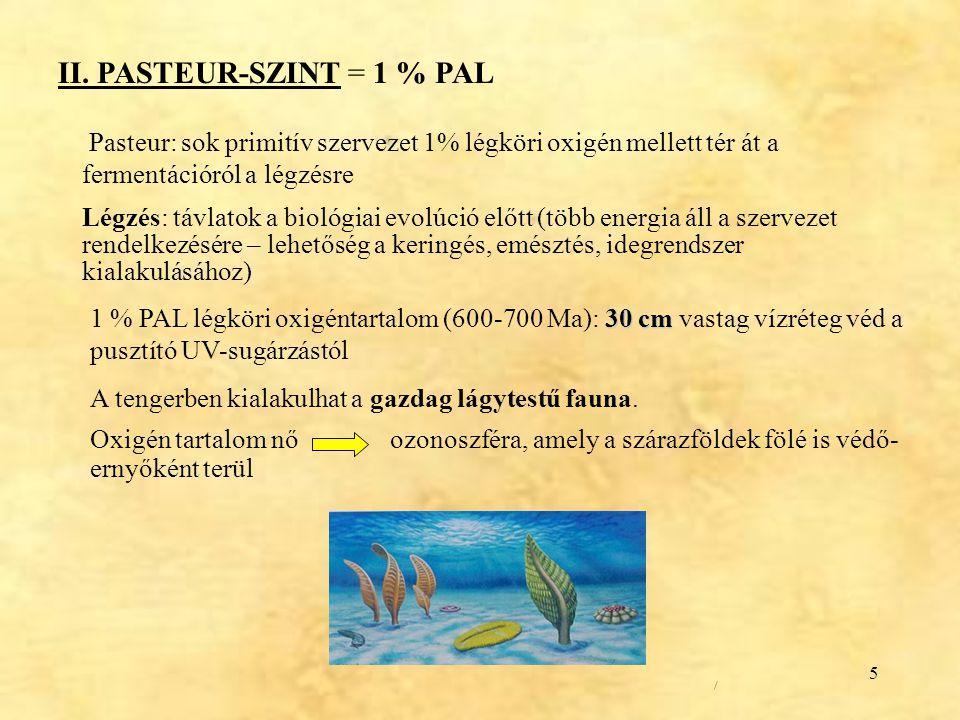 5 II. PASTEUR-SZINT = 1 % PAL Pasteur: sok primitív szervezet 1% légköri oxigén mellett tér át a fermentációról a légzésre Légzés: távlatok a biológia