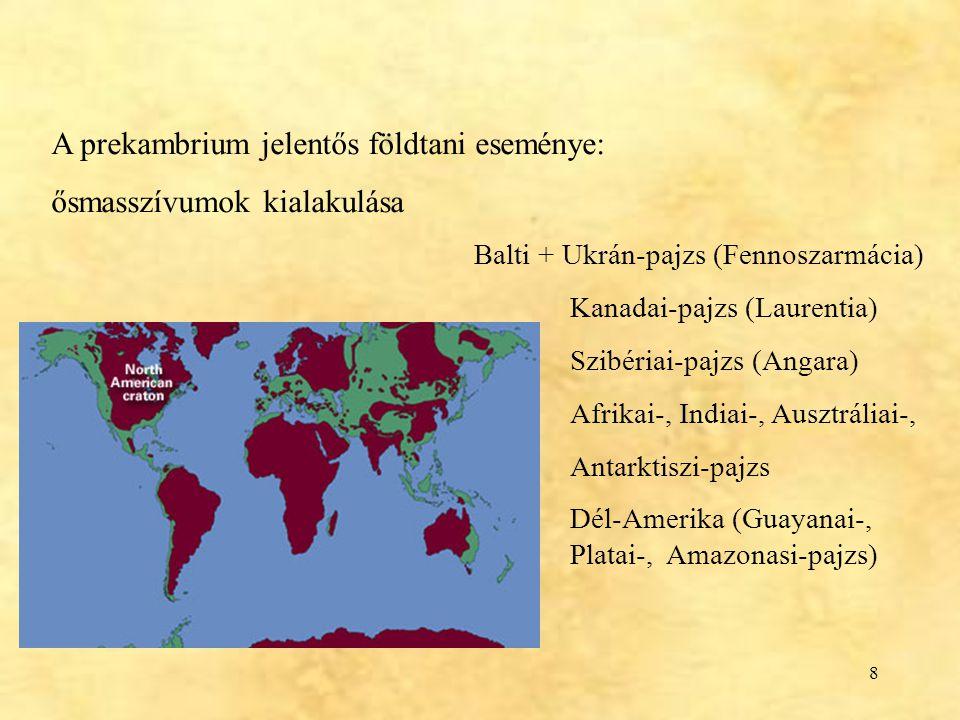 8 A prekambrium jelentős földtani eseménye: ősmasszívumok kialakulása Balti + Ukrán-pajzs (Fennoszarmácia) Kanadai-pajzs (Laurentia) Szibériai-pajzs (