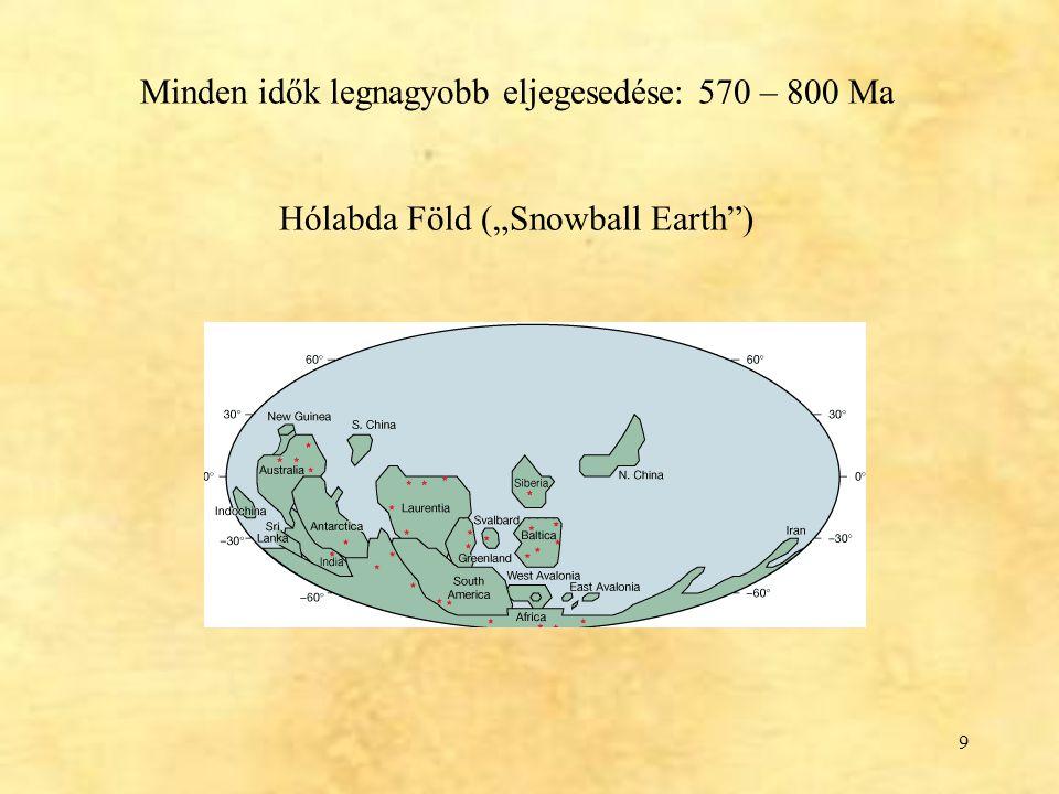 """9 Minden idők legnagyobb eljegesedése: 570 – 800 Ma Hólabda Föld (""""Snowball Earth"""")"""