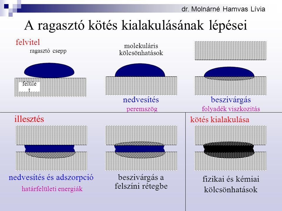 dr. Molnárné Hamvas Lívia felvitel nedvesítésbeszivárgás A ragasztó kötés kialakulásának lépései ragasztó csepp felüle t nedvesítés és adszorpció besz