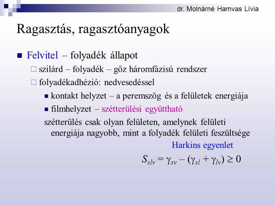 dr. Molnárné Hamvas Lívia Ragasztás, ragasztóanyagok Felvitel – folyadék állapot  szilárd – folyadék – gőz háromfázisú rendszer  folyadékadhézió: ne