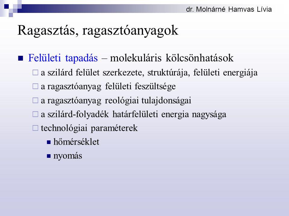 dr. Molnárné Hamvas Lívia Ragasztás, ragasztóanyagok Felületi tapadás – molekuláris kölcsönhatások  a szilárd felület szerkezete, struktúrája, felüle