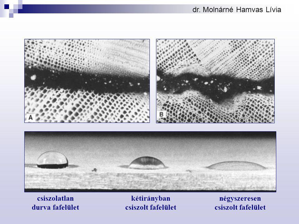 dr. Molnárné Hamvas Lívia csiszolatlan durva fafelület kétirányban csiszolt fafelület négyszeresen csiszolt fafelület