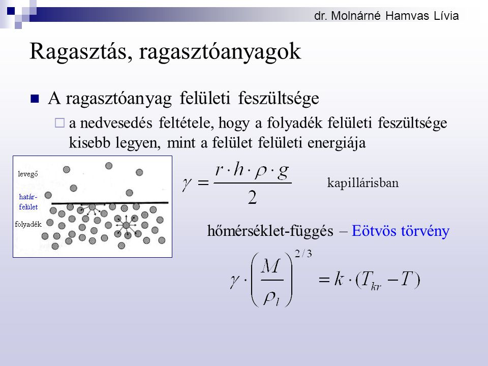 dr. Molnárné Hamvas Lívia Ragasztás, ragasztóanyagok A ragasztóanyag felületi feszültsége  a nedvesedés feltétele, hogy a folyadék felületi feszültsé