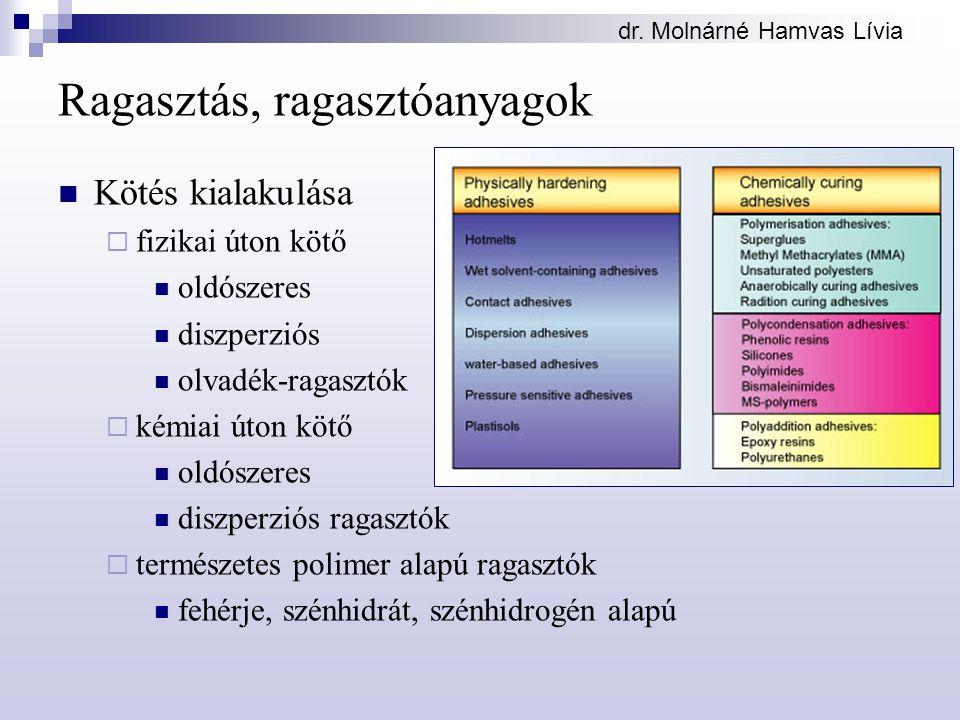 dr. Molnárné Hamvas Lívia Ragasztás, ragasztóanyagok Kötés kialakulása  fizikai úton kötő oldószeres diszperziós olvadék-ragasztók  kémiai úton kötő