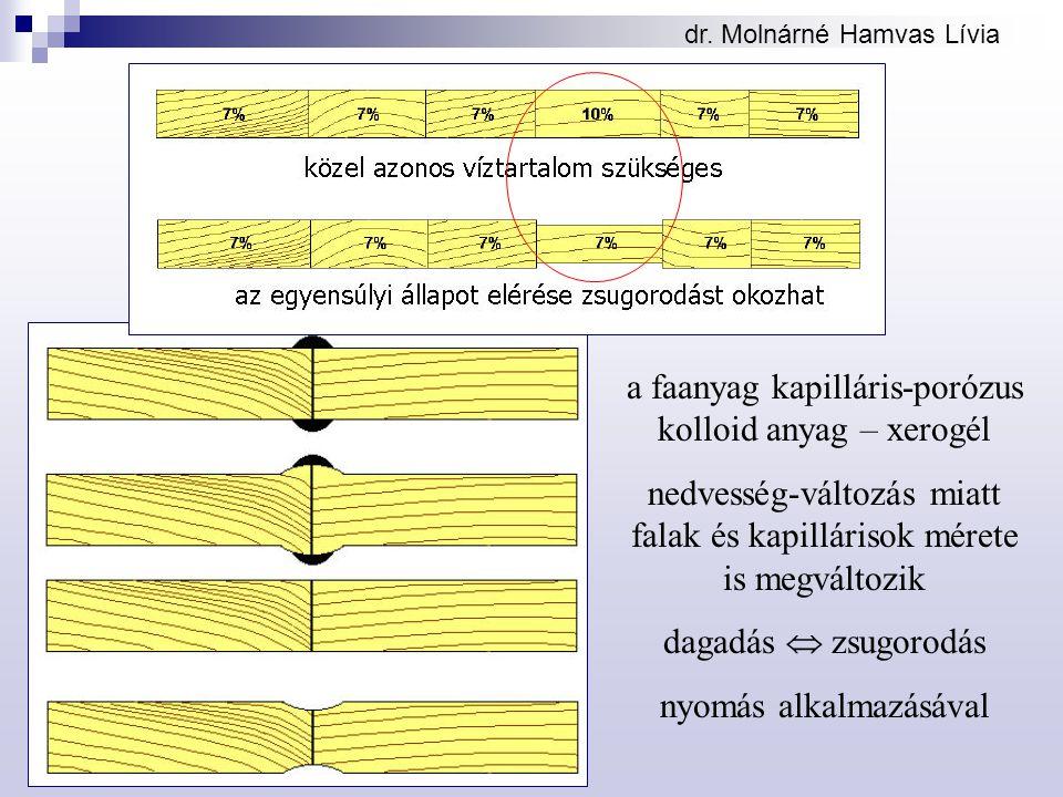 dr. Molnárné Hamvas Lívia a faanyag kapilláris-porózus kolloid anyag – xerogél nedvesség-változás miatt falak és kapillárisok mérete is megváltozik da