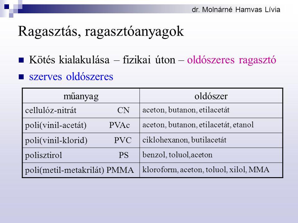 dr. Molnárné Hamvas Lívia Ragasztás, ragasztóanyagok Kötés kialakulása – fizikai úton – oldószeres ragasztó szerves oldószeres műanyagoldószer celluló