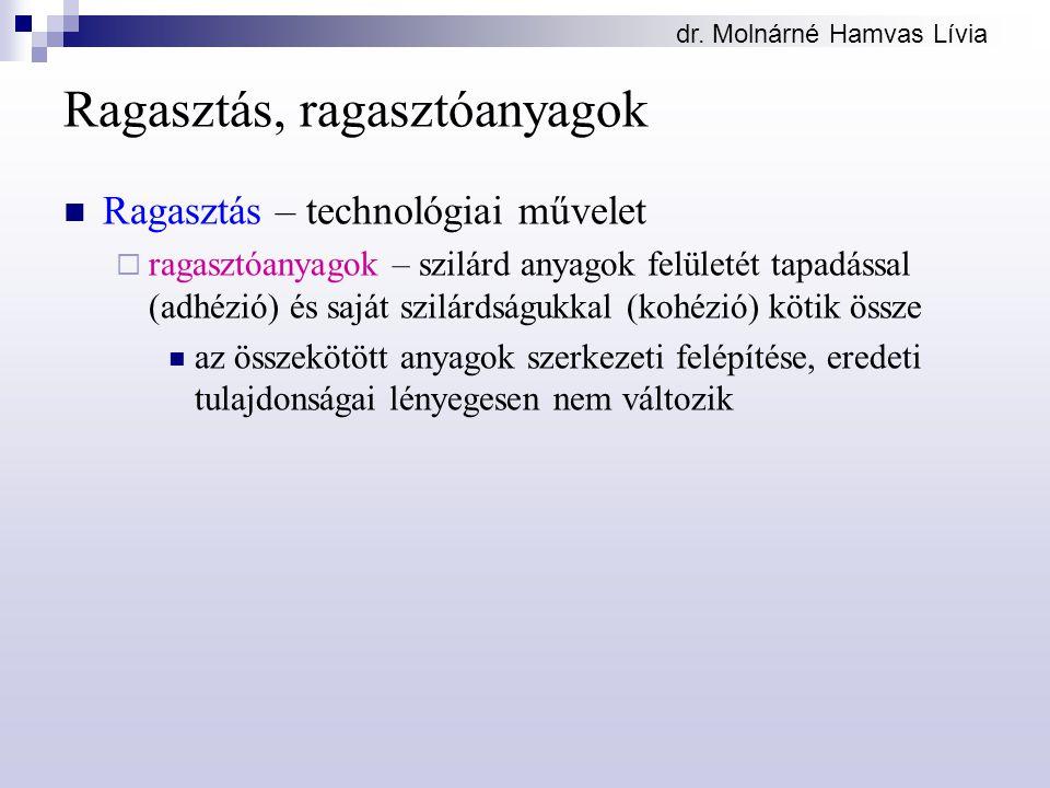 dr. Molnárné Hamvas Lívia Ragasztás, ragasztóanyagok Ragasztás – technológiai művelet  ragasztóanyagok – szilárd anyagok felületét tapadással (adhézi