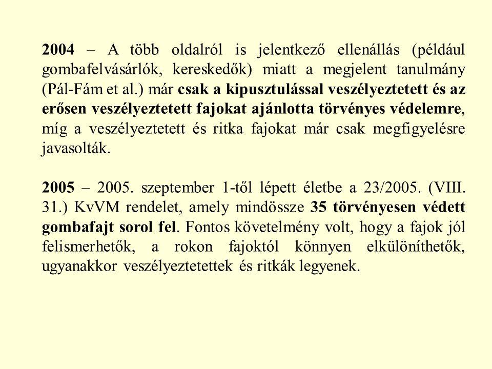 2004 – A több oldalról is jelentkező ellenállás (például gombafelvásárlók, kereskedők) miatt a megjelent tanulmány (Pál-Fám et al.) már csak a kipuszt