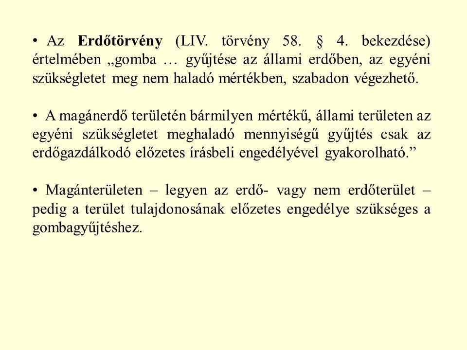 """Az Erdőtörvény (LIV. törvény 58. § 4. bekezdése) értelmében """"gomba … gyűjtése az állami erdőben, az egyéni szükségletet meg nem haladó mértékben, szab"""