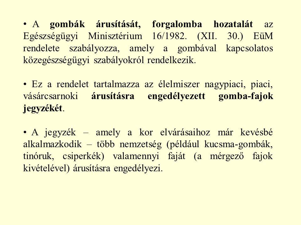 A gombák árusítását, forgalomba hozatalát az Egészségügyi Minisztérium 16/1982. (XII. 30.) EüM rendelete szabályozza, amely a gombával kapcsolatos köz