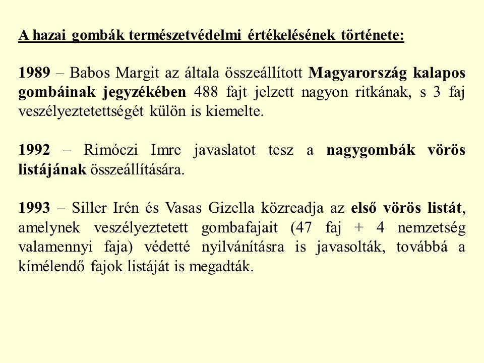A hazai gombák természetvédelmi értékelésének története: 1989 – Babos Margit az általa összeállított Magyarország kalapos gombáinak jegyzékében 488 fa