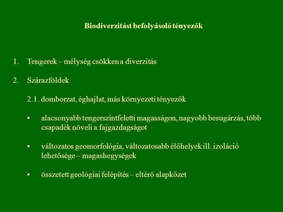 Biodiverzitást befolyásoló tényezők 1.Tengerek – mélység csökken a diverzitás 2.Szárazföldek 2.1. domborzat, éghajlat, más környezeti tényezők alacson