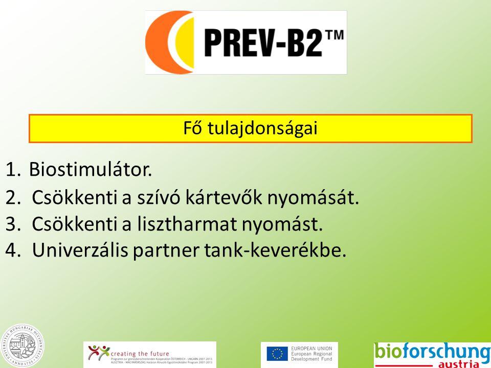 1. Biostimulátor. 2. Csökkenti a szívó kártevők nyomását. 3. Csökkenti a lisztharmat nyomást. 4. Univerzális partner tank-keverékbe. 24 Fő tulajdonság