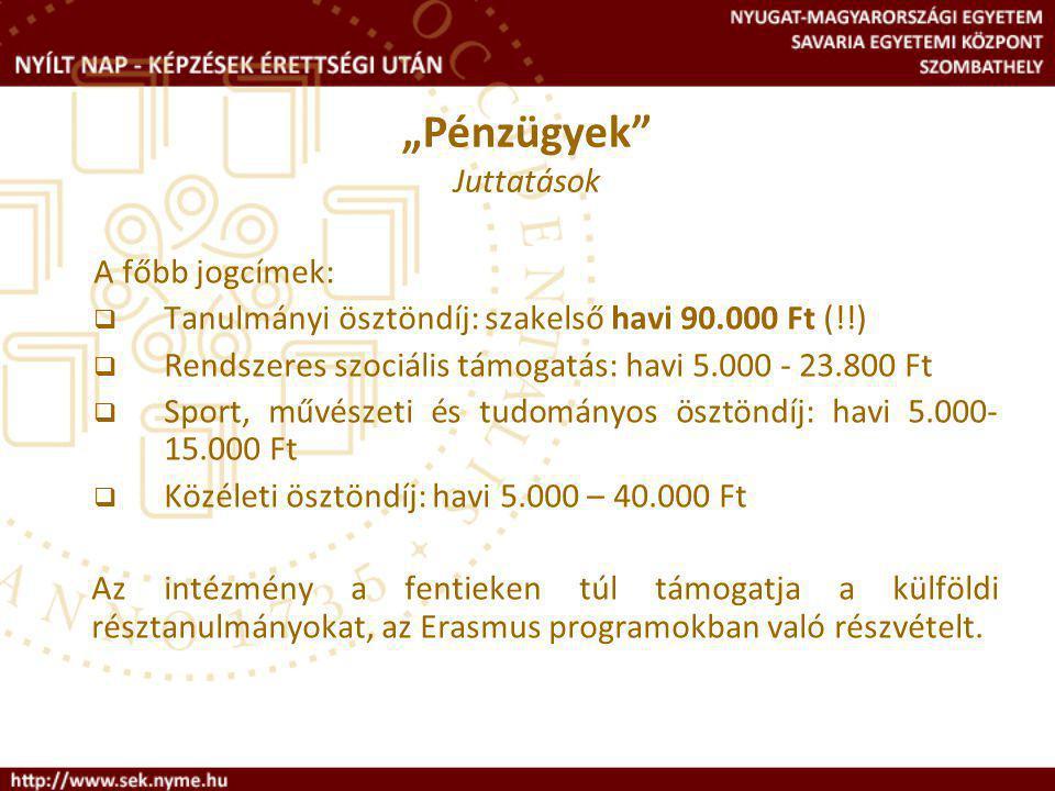 A főbb jogcímek:  Tanulmányi ösztöndíj: szakelső havi 90.000 Ft (!!)  Rendszeres szociális támogatás: havi 5.000 - 23.800 Ft  Sport, művészeti és tudományos ösztöndíj: havi 5.000- 15.000 Ft  Közéleti ösztöndíj: havi 5.000 – 40.000 Ft Az intézmény a fentieken túl támogatja a külföldi résztanulmányokat, az Erasmus programokban való részvételt.
