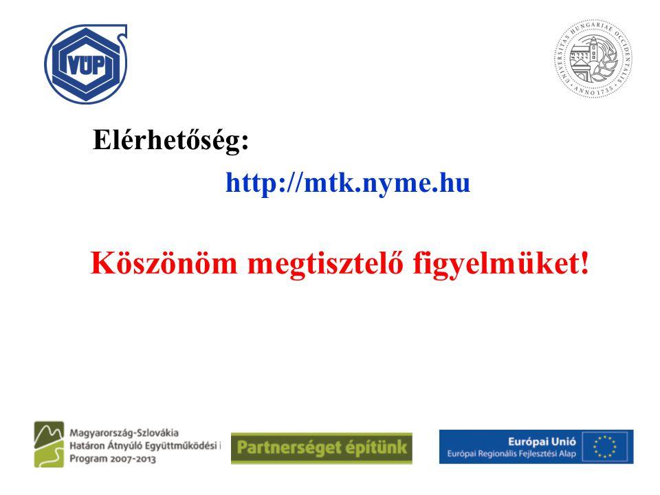 Köszönöm megtisztelő figyelmüket! Elérhetőség: http://mtk.nyme.hu