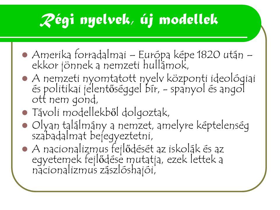 Régi nyelvek, új modellek Amerika forradalmai – Európa képe 1820 után – ekkor jönnek a nemzeti hullámok, A nemzeti nyomtatott nyelv központi ideológia