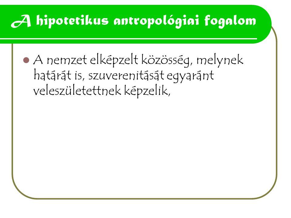 A hipotetikus antropológiai fogalom A nemzet elképzelt közösség, melynek határát is, szuverenitását egyaránt veleszületettnek képzelik,