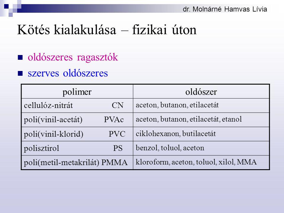 dr. Molnárné Hamvas Lívia Kötés kialakulása – fizikai úton oldószeres ragasztók szerves oldószeres polimeroldószer cellulóz-nitrát CN aceton, butanon,