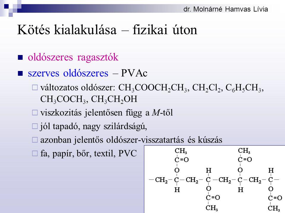 dr. Molnárné Hamvas Lívia Kötés kialakulása – fizikai úton oldószeres ragasztók szerves oldószeres – PVAc  változatos oldószer: CH 3 COOCH 2 CH 3, CH