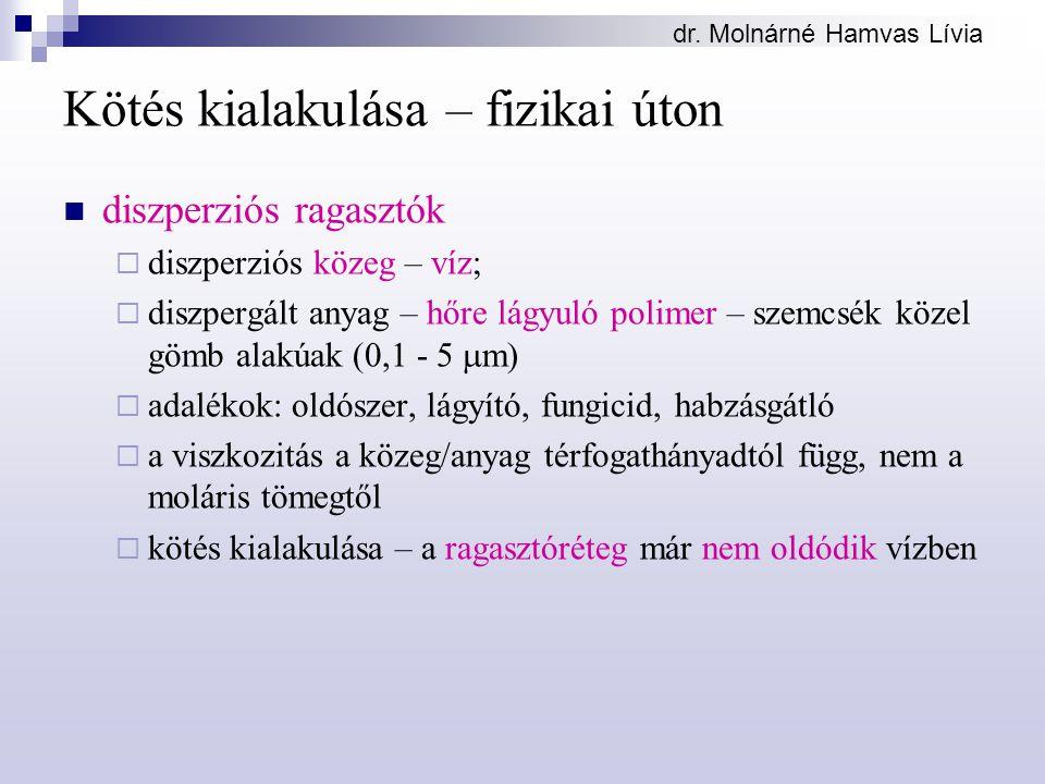 dr. Molnárné Hamvas Lívia Kötés kialakulása – fizikai úton diszperziós ragasztók  diszperziós közeg – víz;  diszpergált anyag – hőre lágyuló polimer