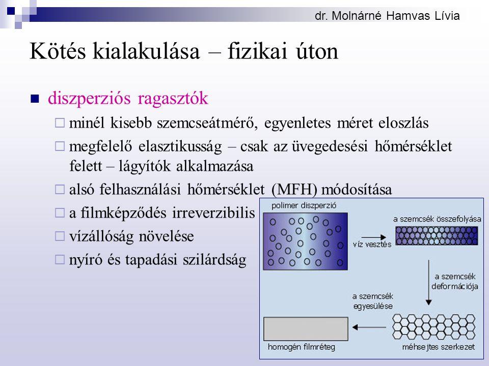 dr. Molnárné Hamvas Lívia Kötés kialakulása – fizikai úton diszperziós ragasztók  minél kisebb szemcseátmérő, egyenletes méret eloszlás  megfelelő e