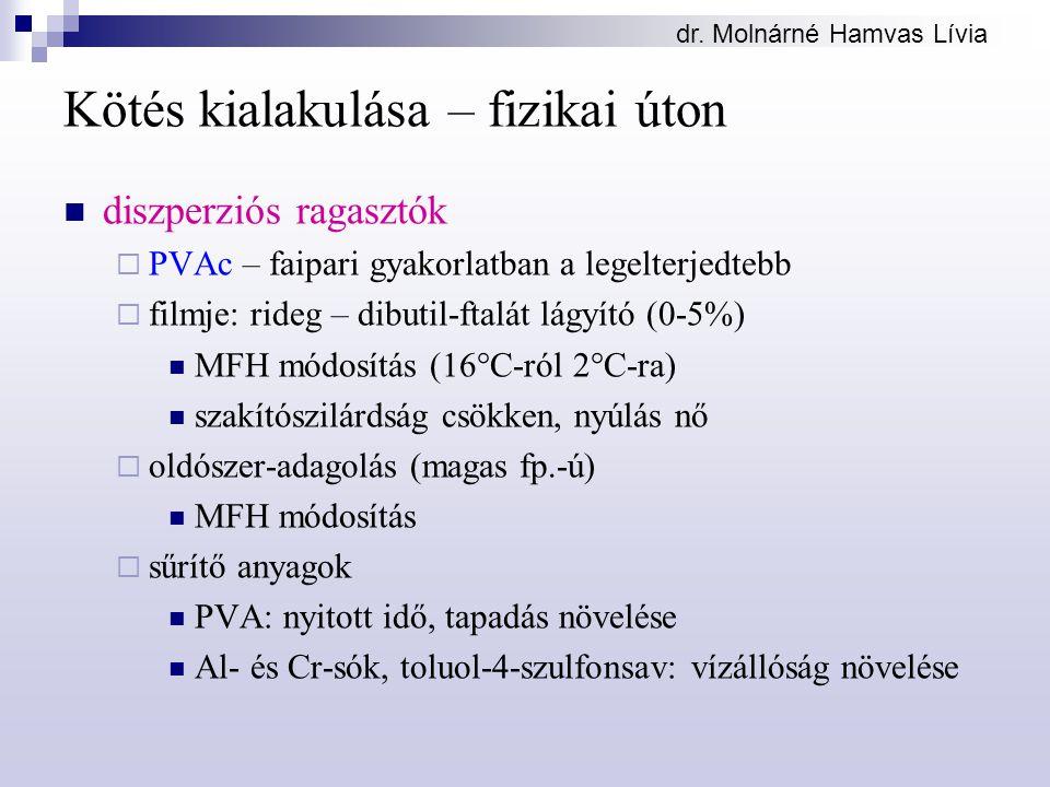 dr. Molnárné Hamvas Lívia Kötés kialakulása – fizikai úton diszperziós ragasztók  PVAc – faipari gyakorlatban a legelterjedtebb  filmje: rideg – dib
