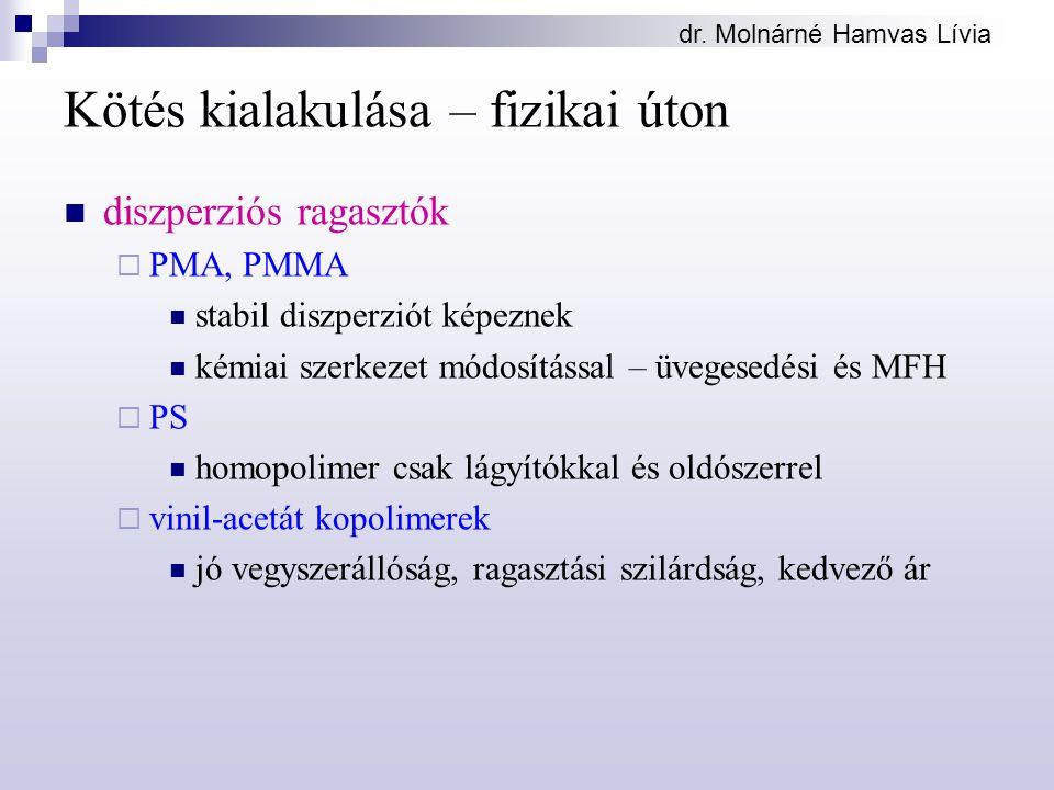 dr. Molnárné Hamvas Lívia Kötés kialakulása – fizikai úton diszperziós ragasztók  PMA, PMMA stabil diszperziót képeznek kémiai szerkezet módosítással