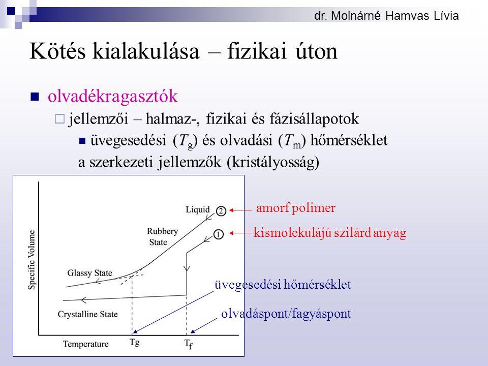 dr. Molnárné Hamvas Lívia Kötés kialakulása – fizikai úton olvadékragasztók  jellemzői – halmaz-, fizikai és fázisállapotok üvegesedési (T g ) és olv