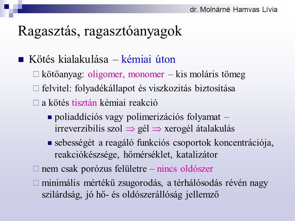dr. Molnárné Hamvas Lívia Ragasztás, ragasztóanyagok Kötés kialakulása – kémiai úton  kötőanyag: oligomer, monomer – kis moláris tömeg  felvitel: fo