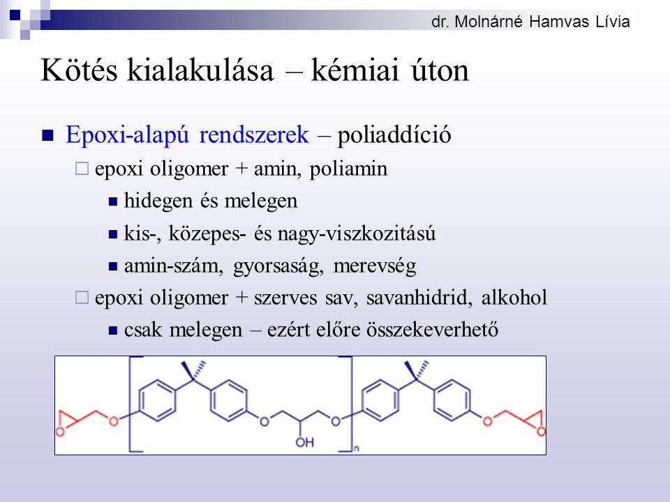 dr. Molnárné Hamvas Lívia Kötés kialakulása – kémiai úton Epoxi-alapú rendszerek – poliaddíció  epoxi oligomer + amin, poliamin hidegen és melegen ki