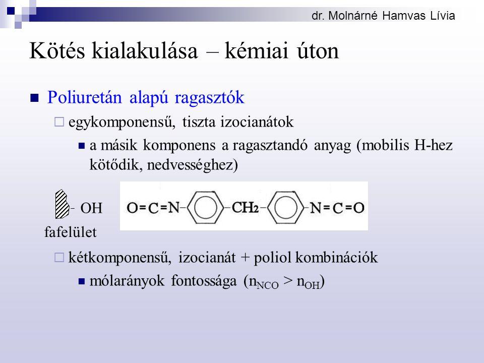 dr. Molnárné Hamvas Lívia Kötés kialakulása – kémiai úton Poliuretán alapú ragasztók  egykomponensű, tiszta izocianátok a másik komponens a ragasztan
