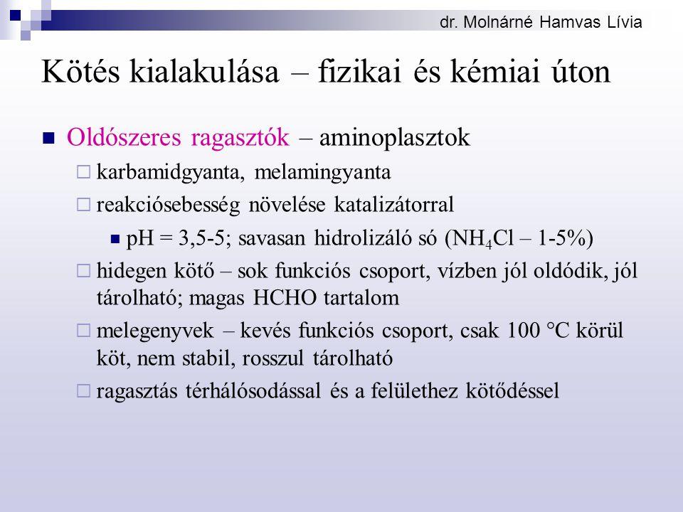 dr. Molnárné Hamvas Lívia Kötés kialakulása – fizikai és kémiai úton Oldószeres ragasztók – aminoplasztok  karbamidgyanta, melamingyanta  reakcióseb