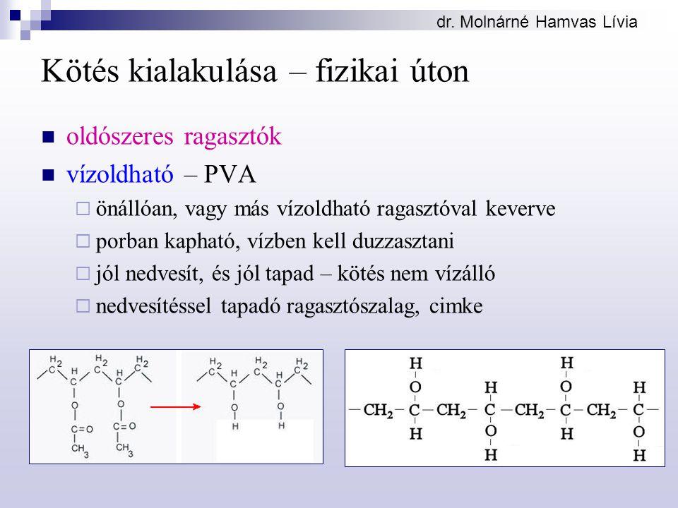 dr. Molnárné Hamvas Lívia Kötés kialakulása – fizikai úton oldószeres ragasztók vízoldható – PVA  önállóan, vagy más vízoldható ragasztóval keverve 