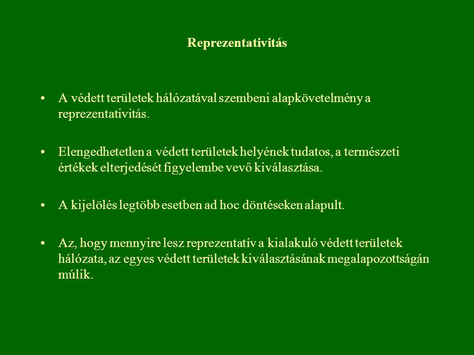 Reprezentativitás A védett területek hálózatával szembeni alapkövetelmény a reprezentativitás. Elengedhetetlen a védett területek helyének tudatos, a