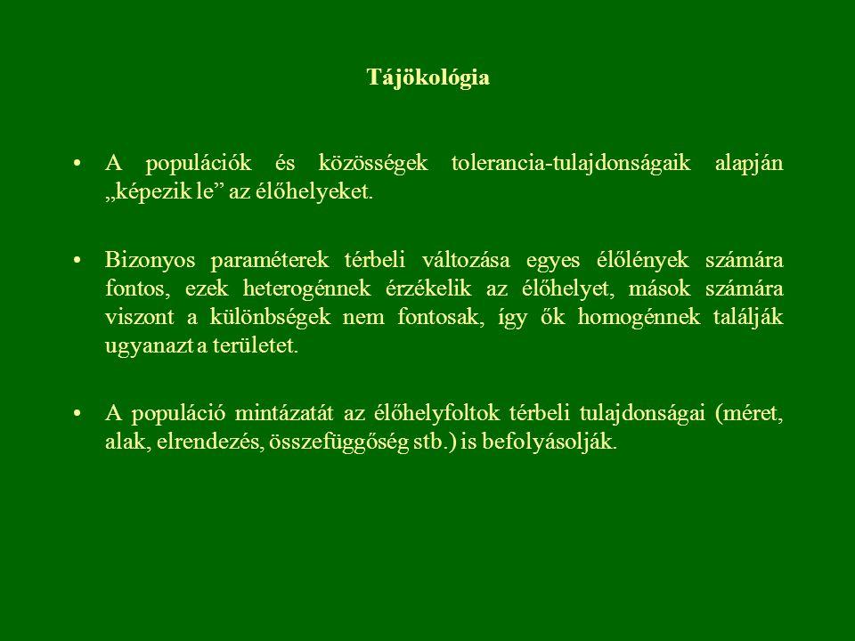 """Tájökológia A populációk és közösségek tolerancia-tulajdonságaik alapján """"képezik le"""" az élőhelyeket. Bizonyos paraméterek térbeli változása egyes élő"""